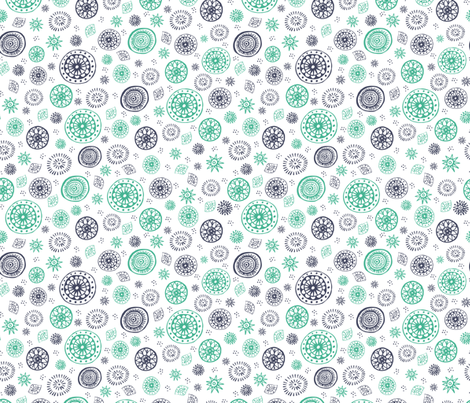 Wild and Free Teal, Navy and White tossed mandala pattern fabric by esther_loopstra_illustration on Spoonflower - custom fabric