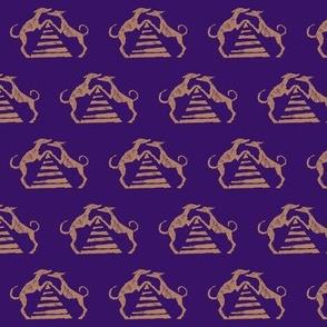 "Sighthound pyramid Blockprint-1.5"" -Copper on Violet"