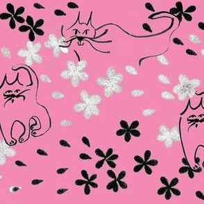 Calligraphy Cats-Pink