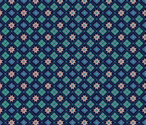 Wild and Free Navy, Teal and boho pink quilt pattern fabric by esther_loopstra_illustration on Spoonflower - custom fabric