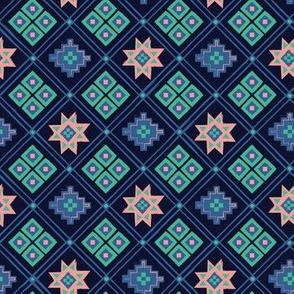 Wild and Free Navy, Teal and boho pink quilt pattern