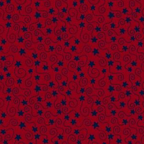 Swirling Stars Navy and Burgundy
