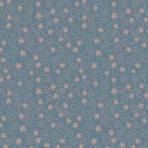 Swirling Stars Blue and Beige
