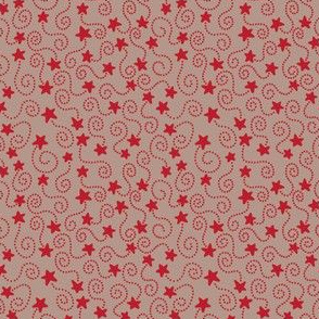 Swirling Stars Red and Beige