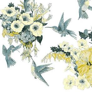 White  on Primrose Yellow Gray & Teal Humming Bird