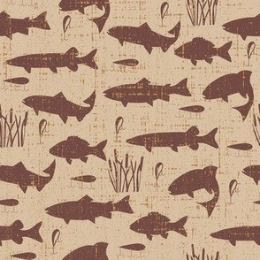 Fish Freshwater Brown Distressed Small