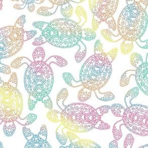 Sea Turtle Rainbow on White