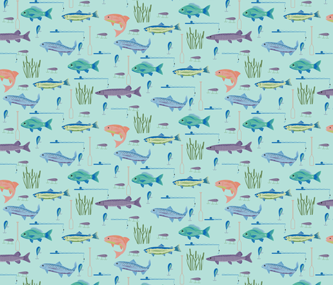 Fisherman's Bounty Teal Turquoise Small fabric by phyllisdobbs on Spoonflower - custom fabric