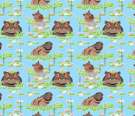 Endangered Species, Hippo, Hippopotamus  fabric by applebutterpattycake on Spoonflower - custom fabric