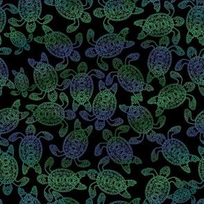 Sea Turtle Ocean on Black