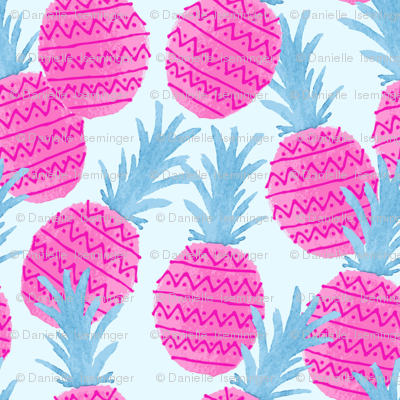 Pink and Blue Pineapples