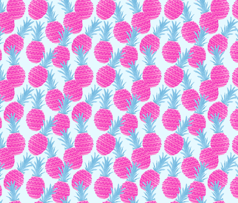 Pink and Blue Pineapples fabric by diseminger on Spoonflower - custom fabric