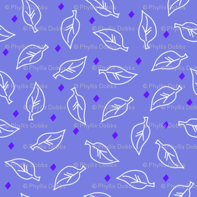 White Leaves Periwinkle Purple
