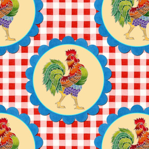 Gingham Rainbow Rooster