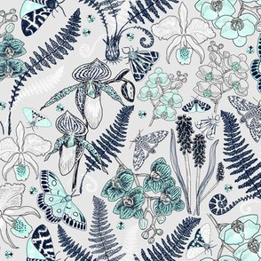 Orchid Botanical Study #021318 (mint-navy on silver)