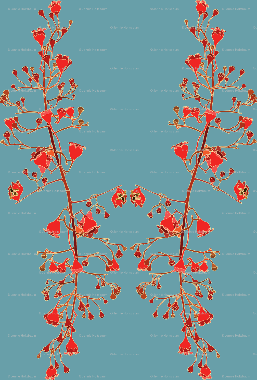 2941 Illawarra-Flame-Tree #1-Teal wallpaper - jennieholtsbaumdesign