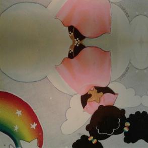 Pink angel rainbows and white stars