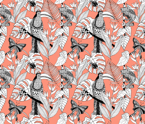 junglelife coral fabric by tarutuulikki on Spoonflower - custom fabric