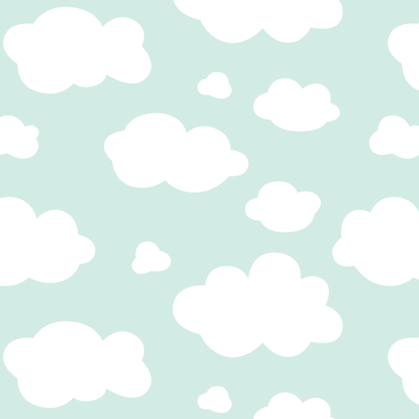 clouds on mint fabric by heleenvanbuul on Spoonflower - custom fabric