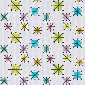 Atomic squares small  pastel grey cross hatched background