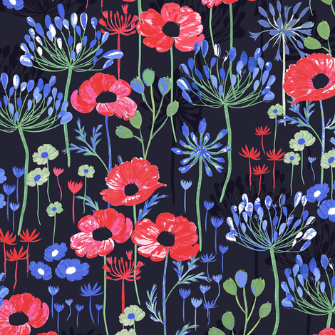 Poppies and Agapanthus  fabric by jill_o_connor on Spoonflower - custom fabric