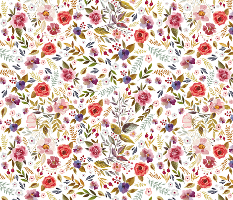 Wildflower Complementary Floral White Background fabric by erin__kendal on Spoonflower - custom fabric
