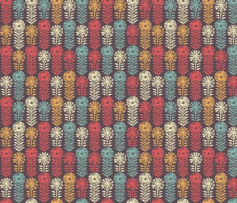 Vintage Geometric Flowers Block Print fabric by matite on Spoonflower - custom fabric