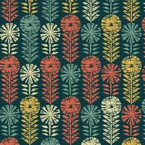 Vintage Geometric Flowers Block Print