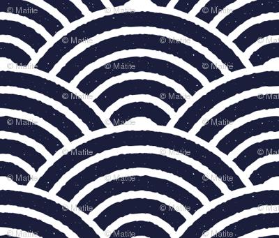 Blue Japanese Waves Block Print
