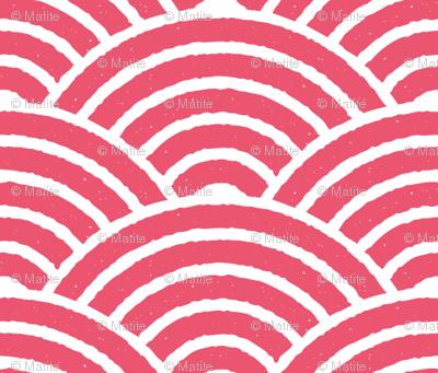 Red Japanese Waves Block Print