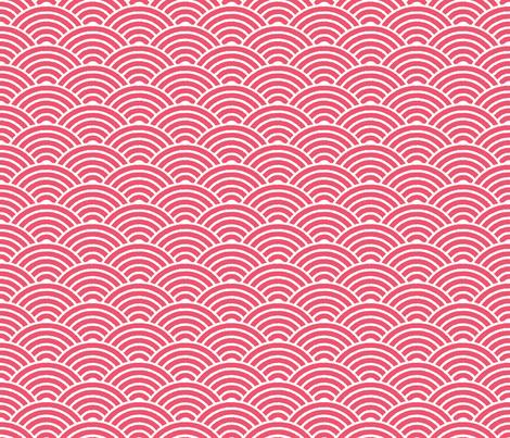Red Japanese Waves Block Print fabric by matite on Spoonflower - custom fabric