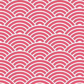 Red Japanese Waves Block Print
