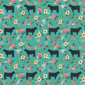 steer floral fabric (smaller scale) - simple layout - turquoise