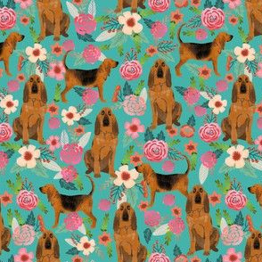 bloodhound dog fabric (smaller scale) dogs and florals -turquoise