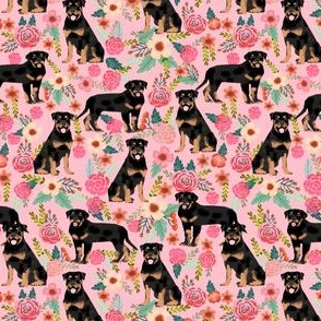 rottweiler floral (smaller scale) dog fabric rottweilers dog design