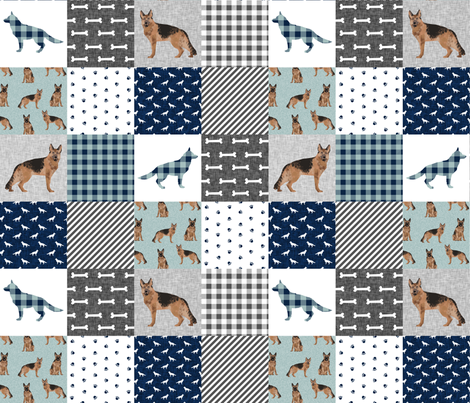 german shepherd pet quilt b cheater quilt wholecloth collection fabric by petfriendly on Spoonflower - custom fabric