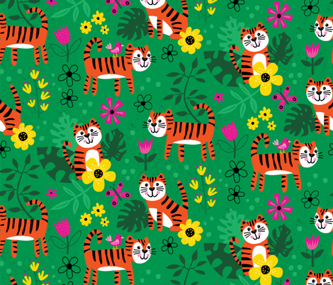 Tiger Jungle fabric by lisa_kubenez on Spoonflower - custom fabric