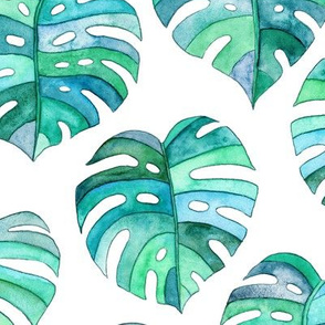 Heart Shaped Watercolor Monstera Leaves - blue green & white - large