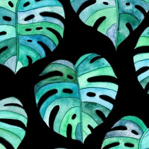 Heart Shaped Watercolor Monstera Leaves - blue green & black - large