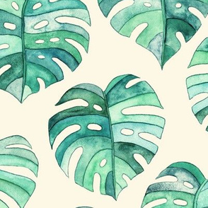 Heart Shaped Watercolor Monstera Leaves - green & cream - large