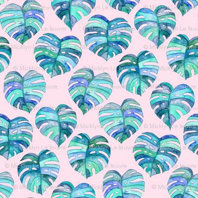 Heart Shaped Watercolor Monstera Leaves - blue purple & pink - large