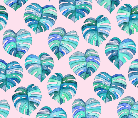 Heart Shaped Watercolor Monstera Leaves - blue purple & pink - large fabric by micklyn on Spoonflower - custom fabric