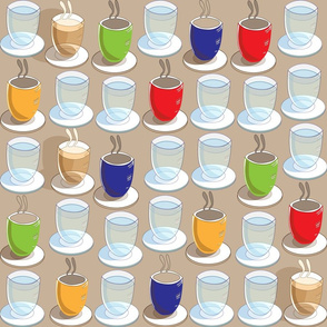 Coffee cups Tea Cups and Glasses of Water Seamless Repeat Pattern in Blue Red Green Yellow