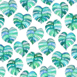 Heart Shaped Watercolor Monstera Leaves - blue green & white - small