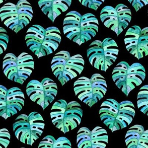 Heart Shaped Watercolor Monstera Leaves - blue green & black - small