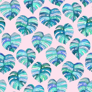 Heart Shaped Watercolor Monstera Leaves - blue purple & pink - small