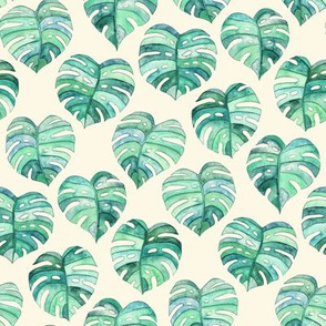 Heart Shaped Watercolor Monstera Leaves - green & cream - small