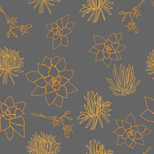 Orange  Succulent Line Shapes on Gray Background Seamless Repeat Pattern