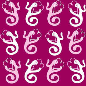 Pink and White Love Gestures Hearts of Love on Burgundy Background Seamless Repeat Pattern