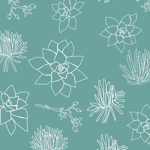 White Succulent Line Shapes on Petrol Background Seamless Repeat Pattern